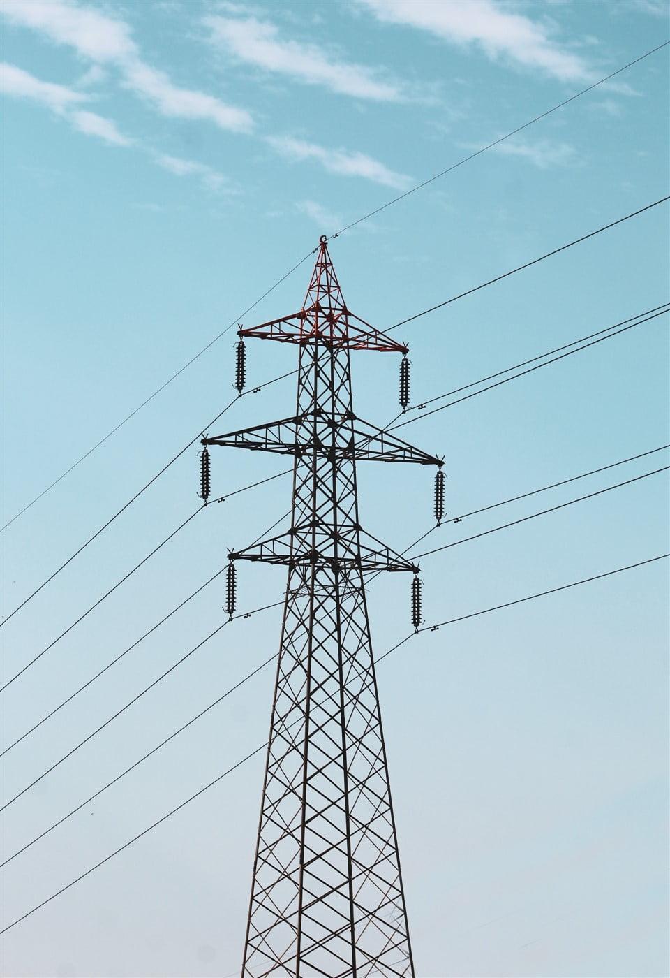 Power grid against the blue sky